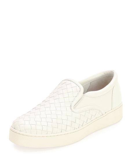 Napa Intrecciato Woven Skate Sneaker, White, Bianco/Bianco