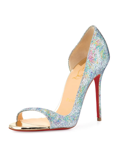 Christian Louboutin Toboggan Glitter 100mm Red Sole Pump,