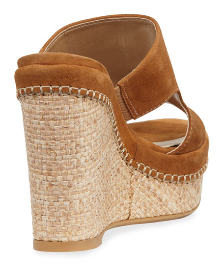 Ponte Cutout Espadrille Wedge Sandals, Camel