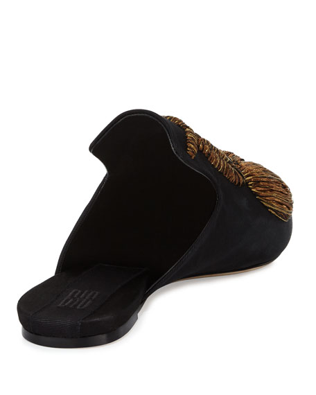 Ciliegia Embroidered Mule, Black/Gold