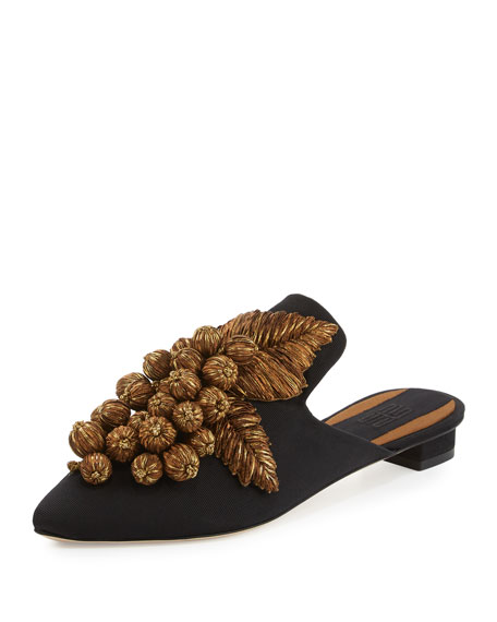 Grappola Embroidered Mule, Black/Gold