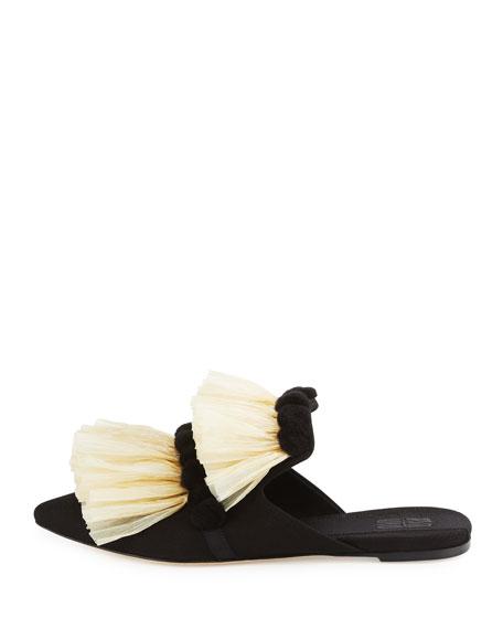 Ruffled Raffia Mule Slide, Black
