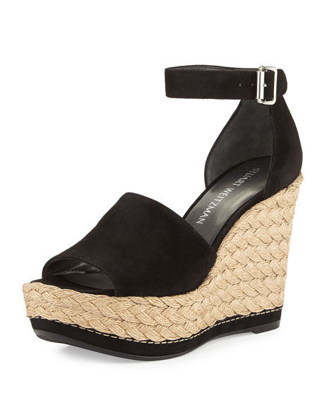 Sohogal Suede Wedge Espadrille Sandal, Black