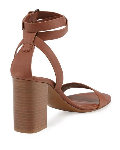 Farley Ankle-Wrap Block-Heel Sandal, Sable