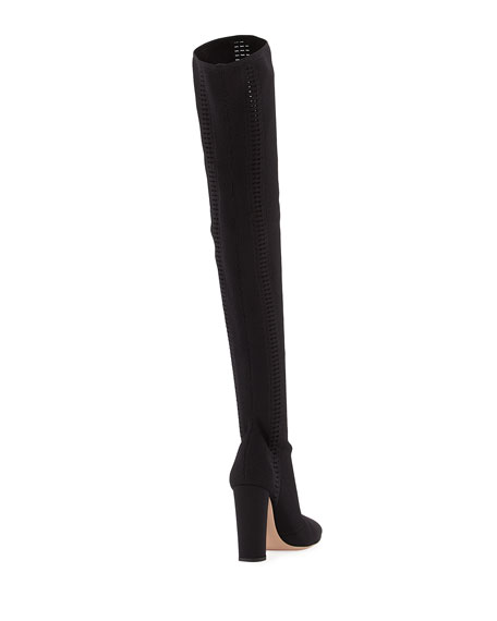 Thurlow Cuissard Knit Over-The-Knee 105mm Boot, Black