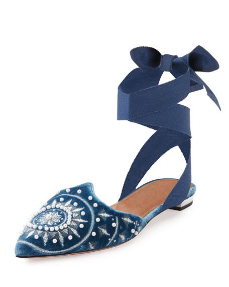 Aquazzura Stellar Embellished Velvet Ankle-Wrap Flat, Blue