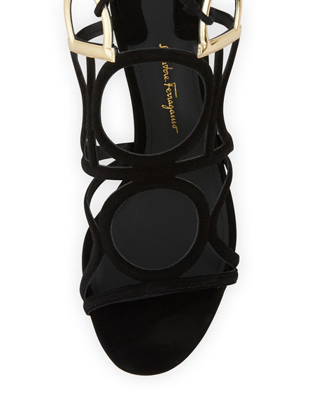 Suede Ankle-Wrap Sandal, Black