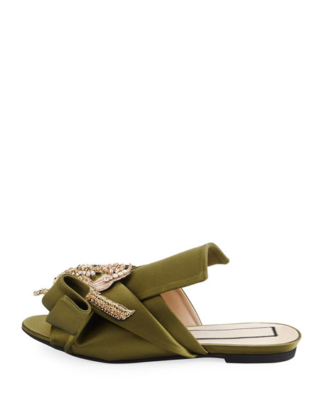 Embellished Flat Satin Mule Slide, Green