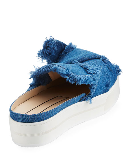 Frayed Denim Platform Mule, Blue