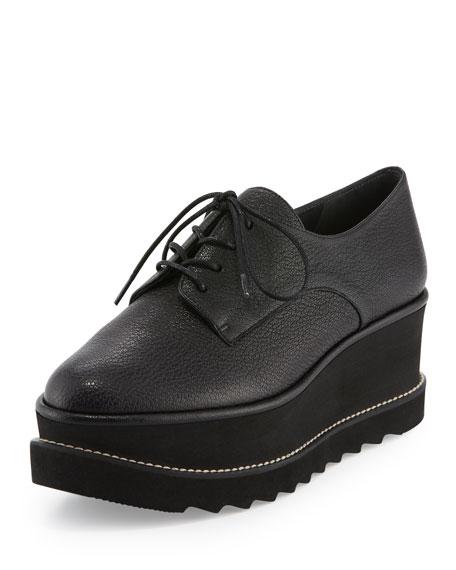 Kent Leather Platform Oxford, Black