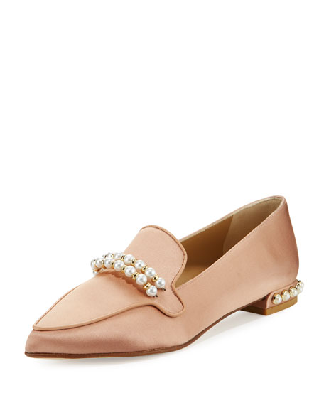 Stuart Weitzman Guam Pearly Satin Loafer, Beige