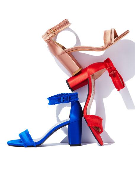 Frayed Satin Chunky-Heel Sandal