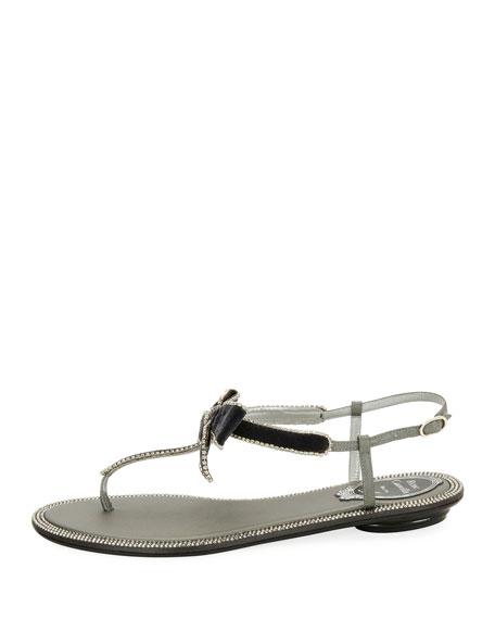 Velvet Embellished Bow Flat Sandal, Gray/Multi