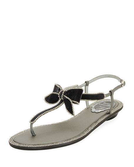 Rene Caovilla Velvet Embellished Bow Flat Sandal, Gray/Multi