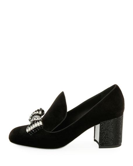 Velvet Embellished Bow Loafer Pumps, Black/Multi