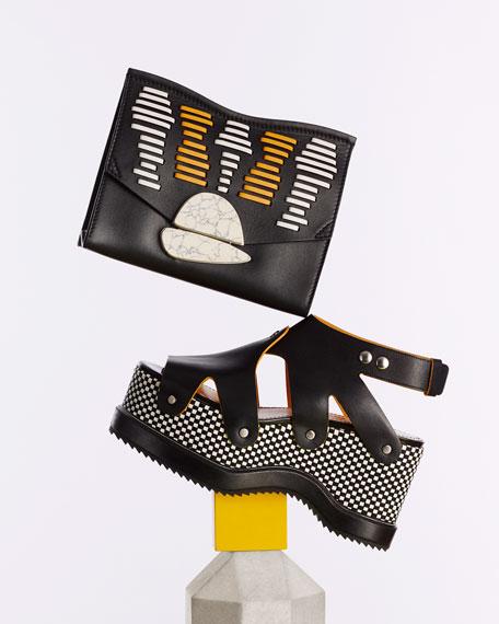 Checkerboard Platform Leather Sandal, Black