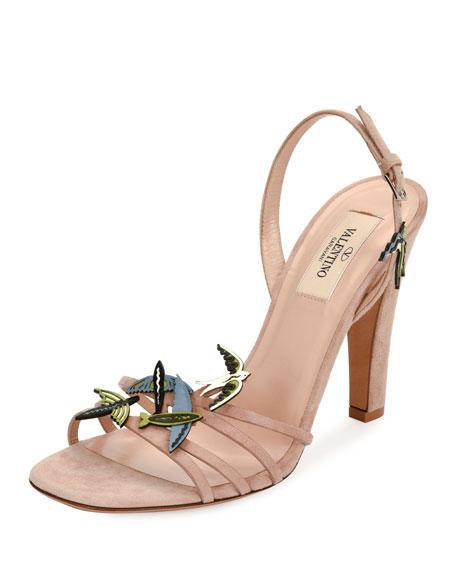 Garden of Delight Suede Sandal, Light Pink