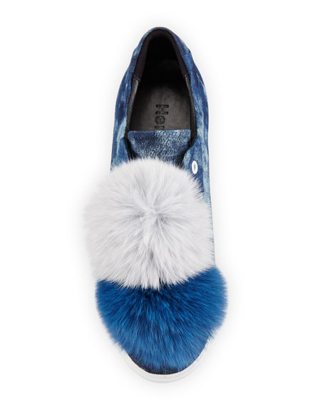 Joey Fur Pompom Sneaker, Navy