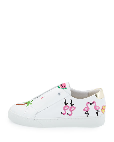 Kamea Beach-Embroidered Sneakers, White Pattern