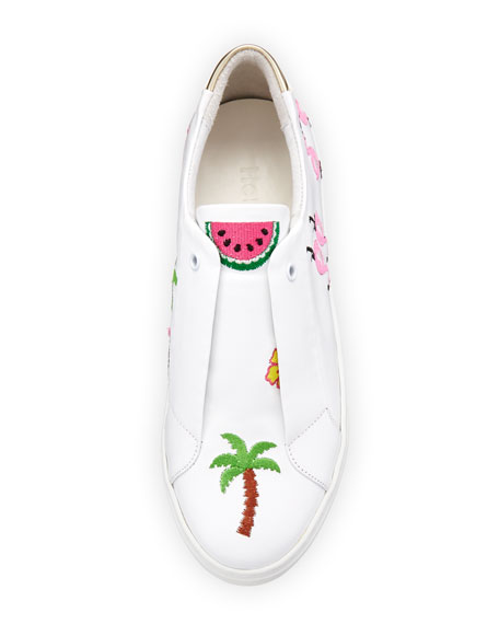 Kamea Beach-Embroidered Sneaker, White Pattern