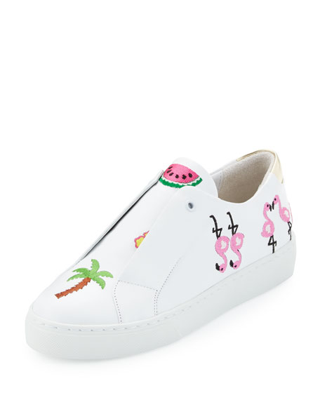 Here/Now Kamea Beach-Embroidered Sneaker, White Pattern
