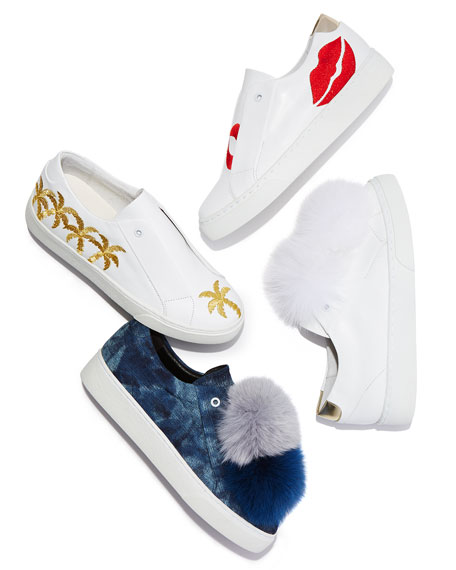 Scarlett Lip-Embroidered Sneakers, White/Red