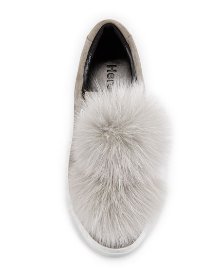 Heather Fur Pompom Sneaker, Gray