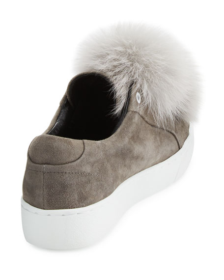 Heather Fur Pompom Sneakers, Gray