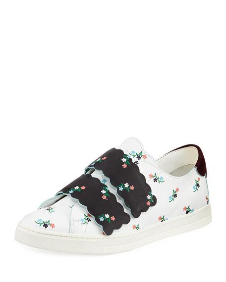 Scalloped Floral-Print Grip-Strap Sneaker, Multi