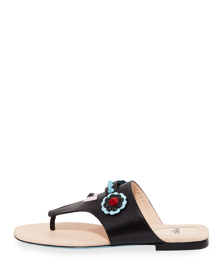 Studded Flat Leather Thong Sandal, Black