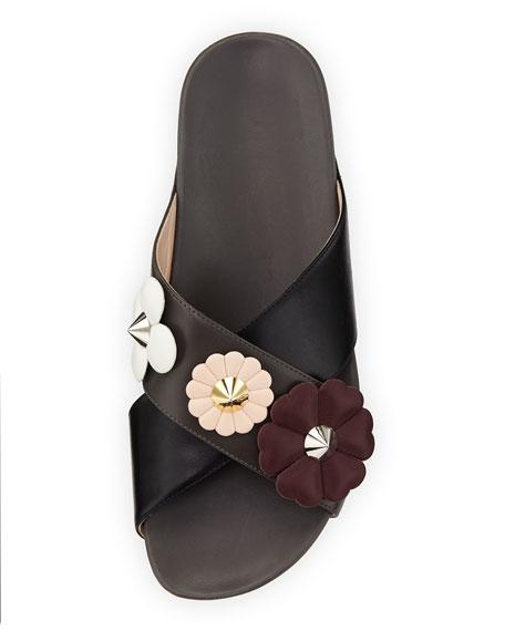 Flowerland Crisscross Flat Slide Sandal, Black