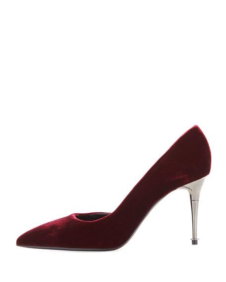 Velvet Half-d'Orsay Pump with Silvertone Heel