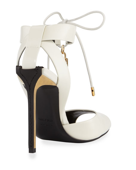 Leather Ankle-Tie Padlock Sandal
