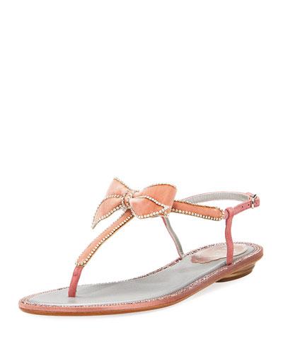 Crystal-Trim Velvet Bow Flat Sandal, Pink Pattern