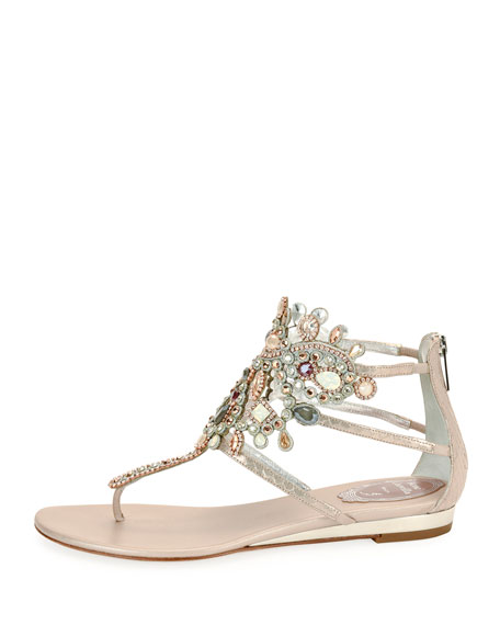Jeweled Snakeskin Flat Thong Sandal, Gray Pattern