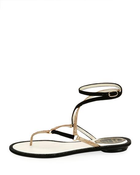 Flat Two-Tone Crystal Ankle-Wrap Sandal, Black Pattern