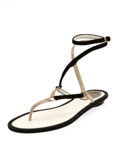 Flat Two-Tone Crystal Ankle-Wrap Sandal, Black Pattern