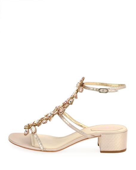 Crystal-Embellished Snakeskin City Sandal, White Pattern