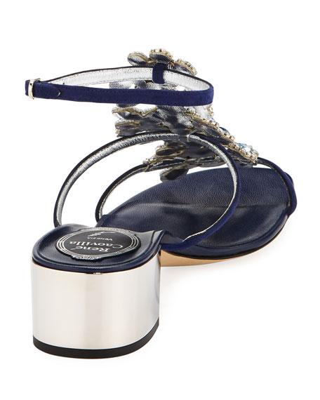 Crystal Jeweled Block-Heel Sandal, Blue