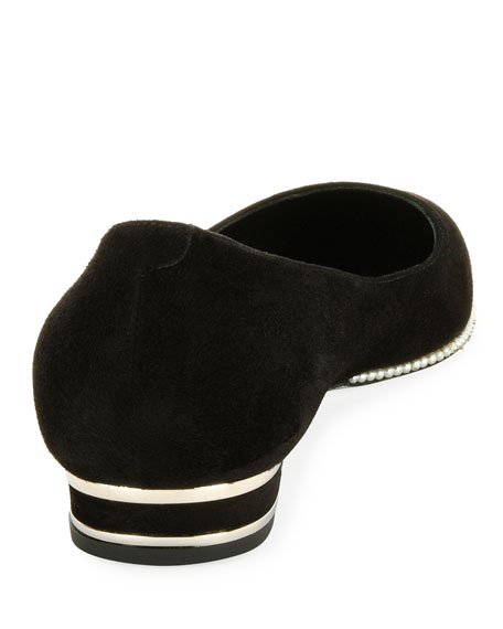 Pearly-Trim Suede Skimmer Flat, Black Pattern