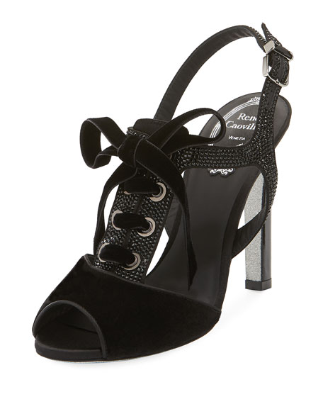 Crystal-Trim Lace-Up Velvet Sandal, Black