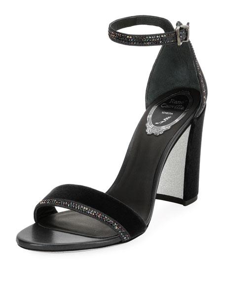 Crystal-Trim Velvet Block-Heel Sandal, Black Pattern