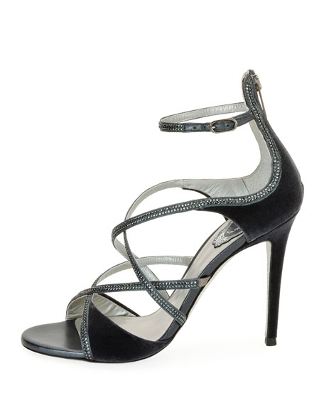 Strappy Crystal-Embellished Velvet Sandal, Gray Pattern