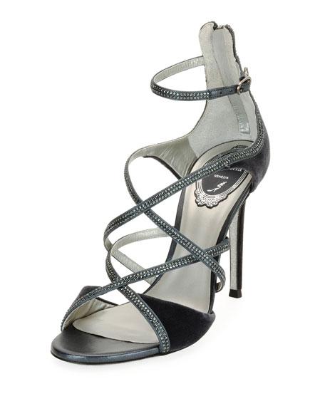 Strappy Crystal-Embellished Velvet Sandals, Gray Pattern