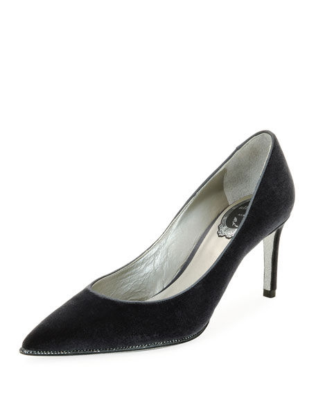 Crystal-Trim Velvet 75mm Pump, Gray Pattern