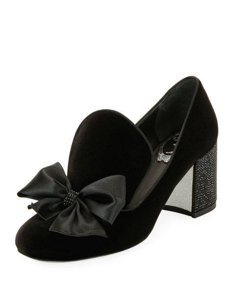 Velvet Bow Block-Heel Loafer, Black Pattern