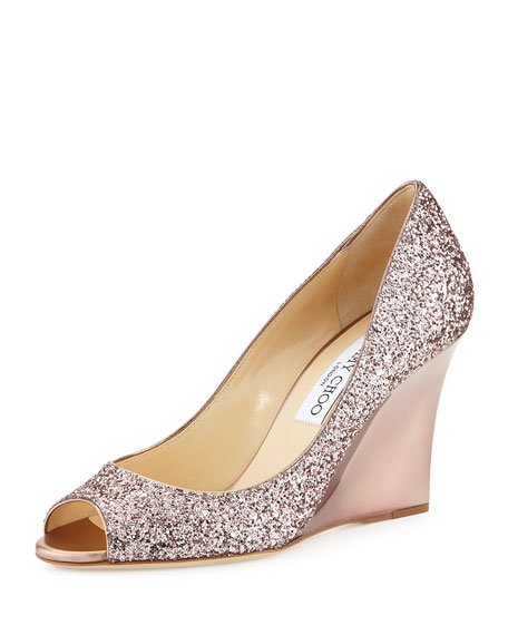 Jimmy Choo Baxen Glitter Peep-Toe Wedge Pump, Champagne