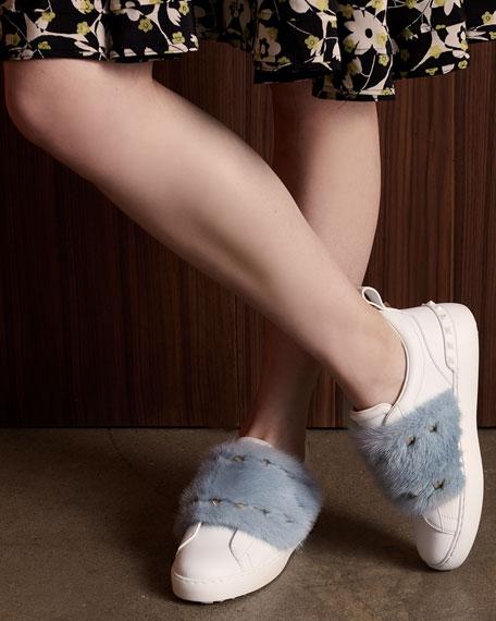 Rockstud Mink Fur Sneaker