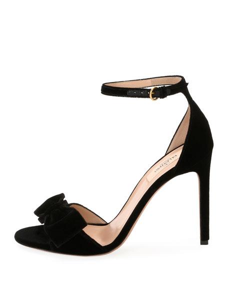 Velvet Bow Sandal, Black