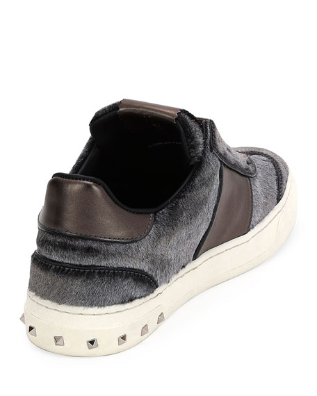Metallic Calf Hair Sneaker, Silver